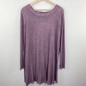 Easel Purple Criss Cross Long Sleeve Shirt Dress L